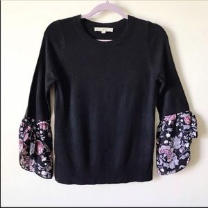 Loft || Floral Bell Sleeve Sweater Size XS